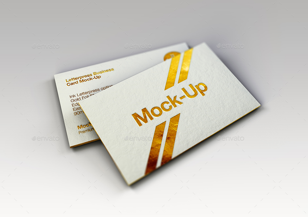 Luxury Gold Foil & Ink Letterpress Business Card Mock-Up by Mock ...