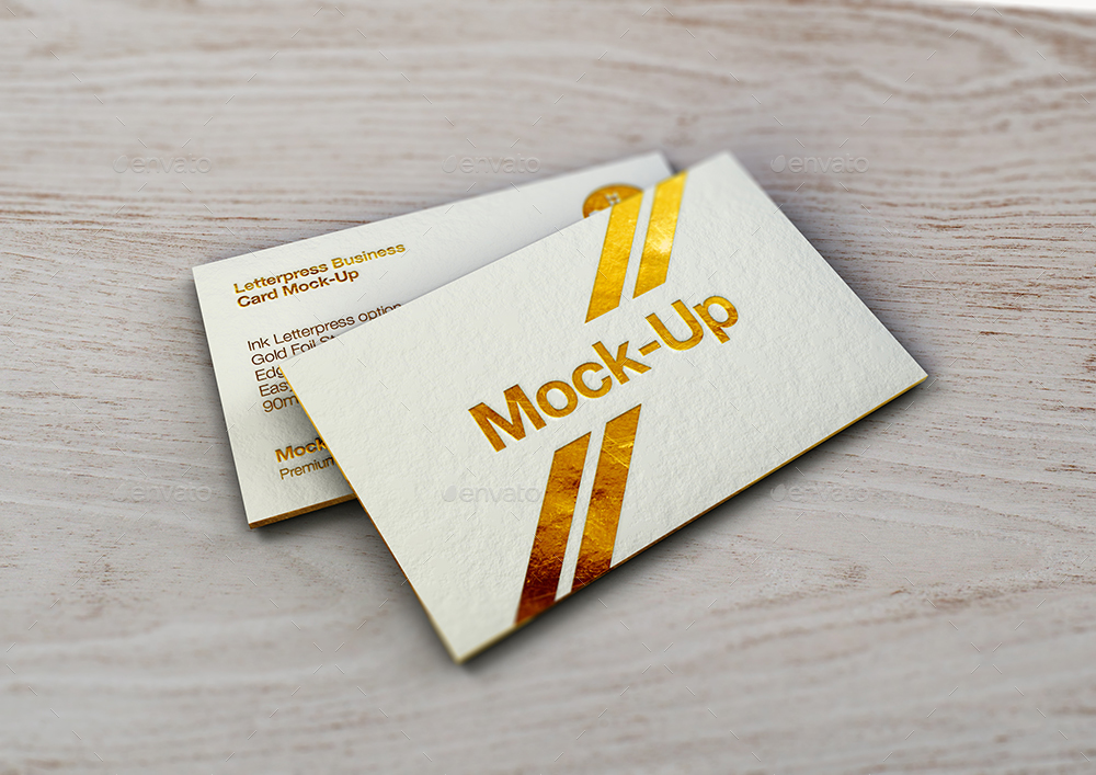 Luxury Gold Foil  Ink Letterpress Business Card MockUp By MockUp