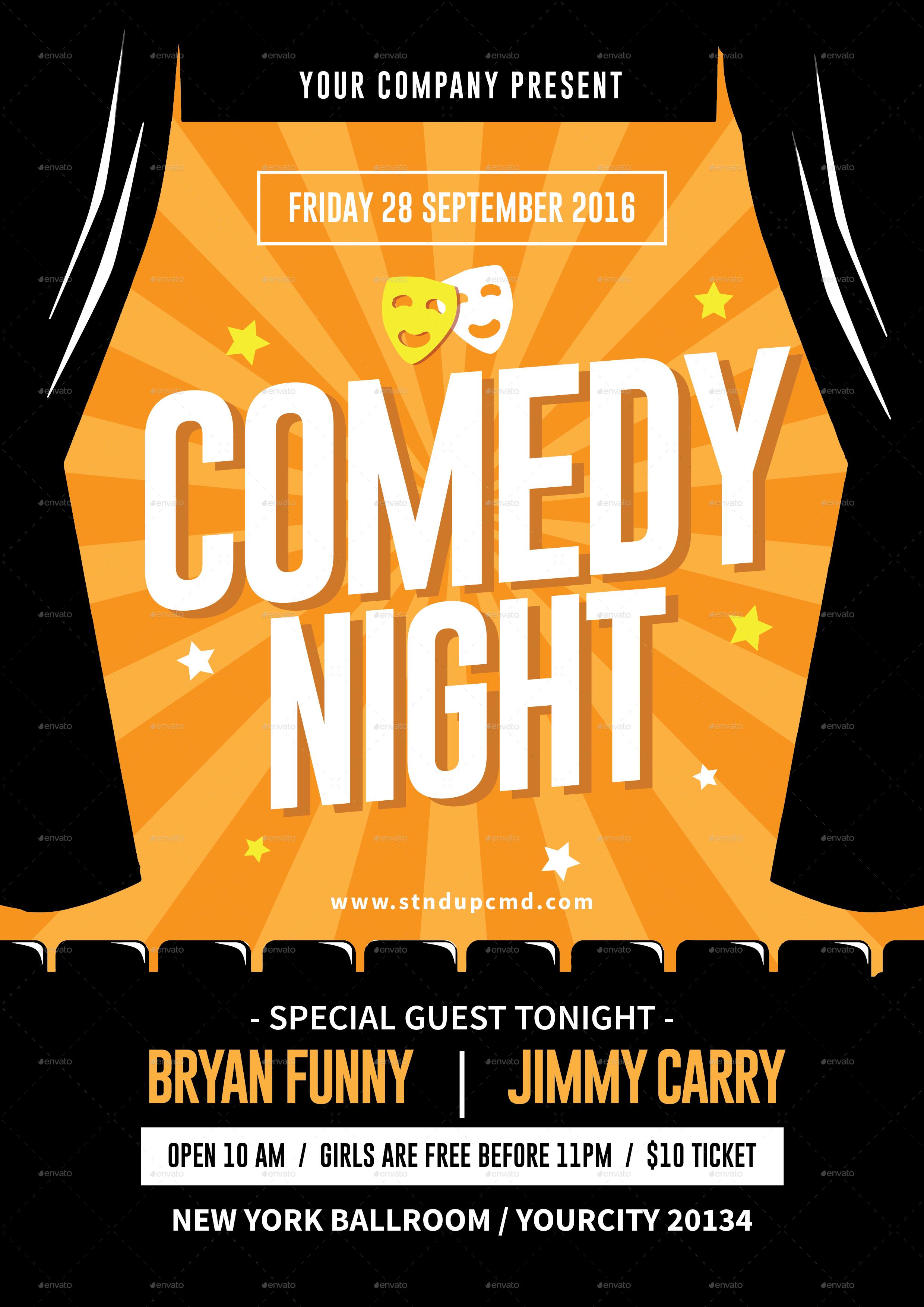 comedy night flyer by tokosatsu