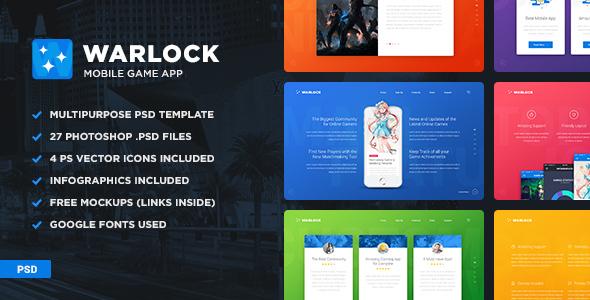 Warlock App PSD Template - Creative PSD Templates
