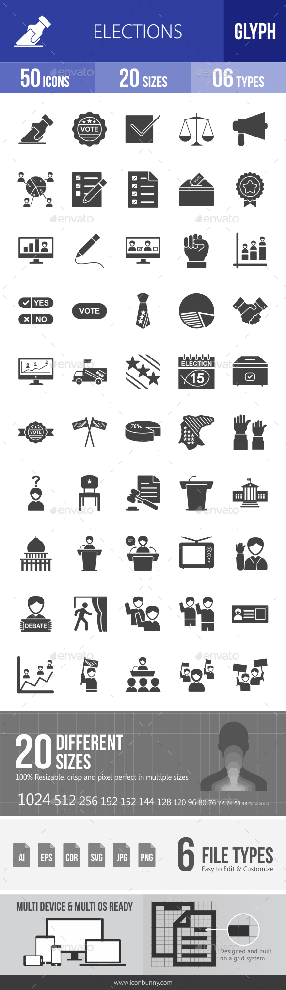 Elections Glyph Icons - Icons