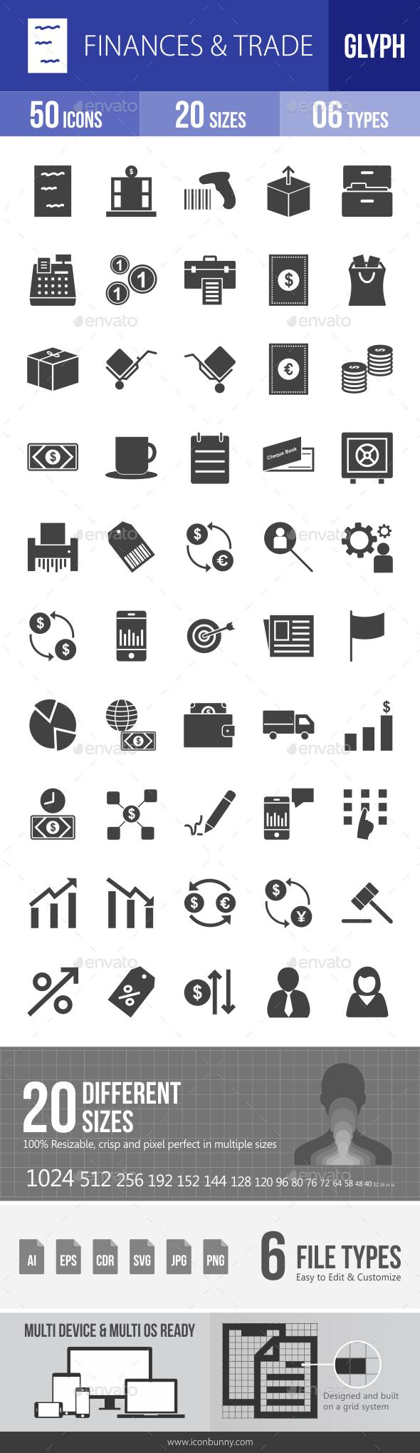 Finances & Trade Glyph Icons - Icons