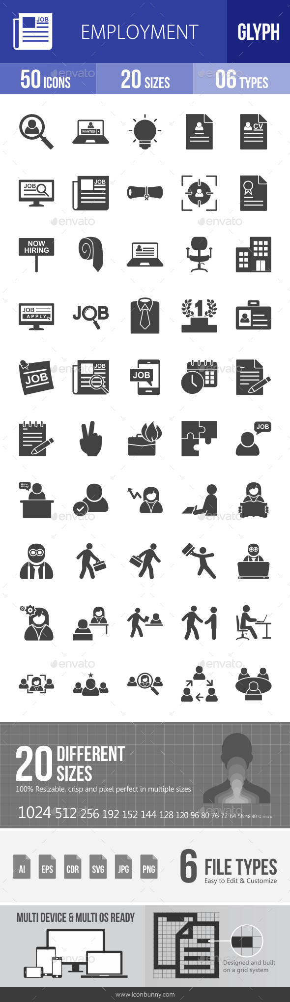 Employment Glyph Icons - Icons