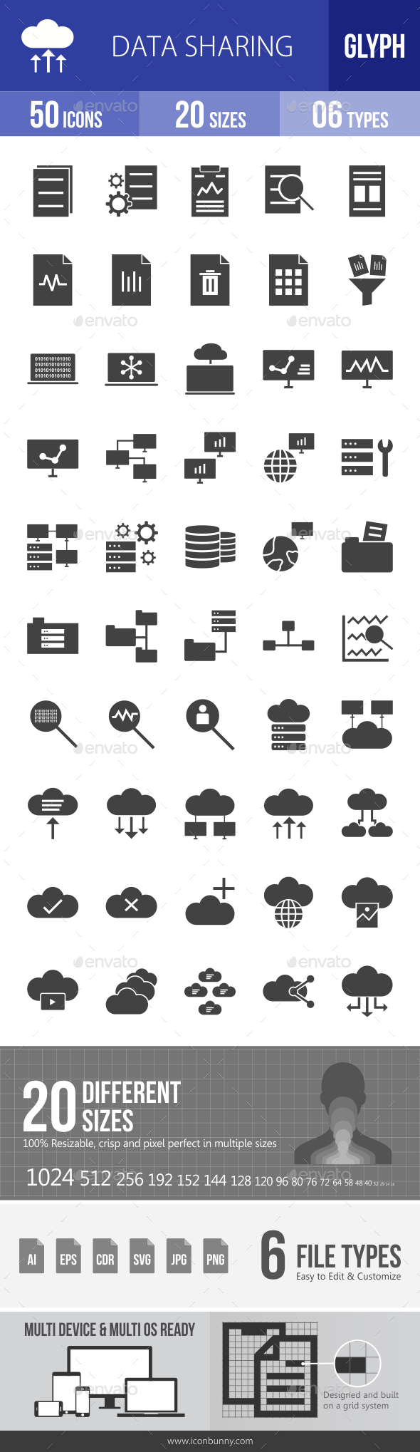 Data Sharing Glyph Icons - Icons