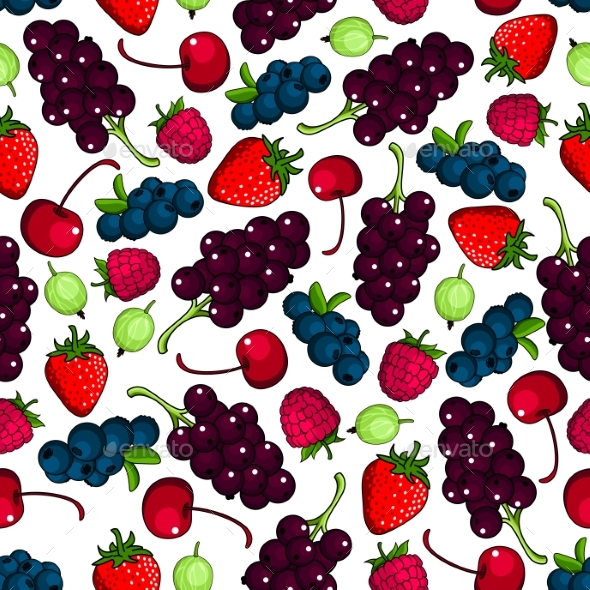 Fresh Berries Fruits Seamless Pattern - Backgrounds Decorative