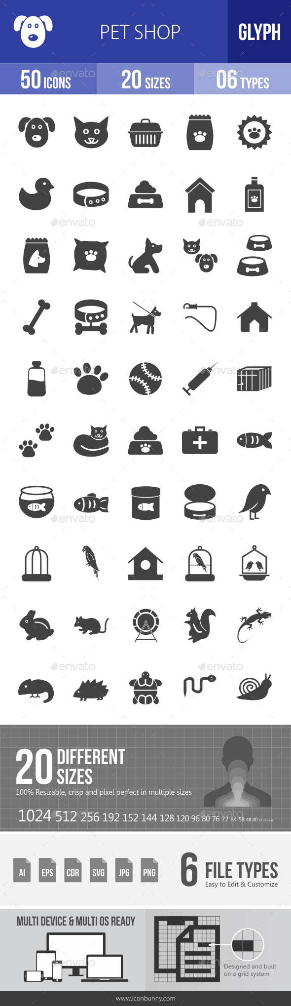Pet Shop Glyph Icons - Icons