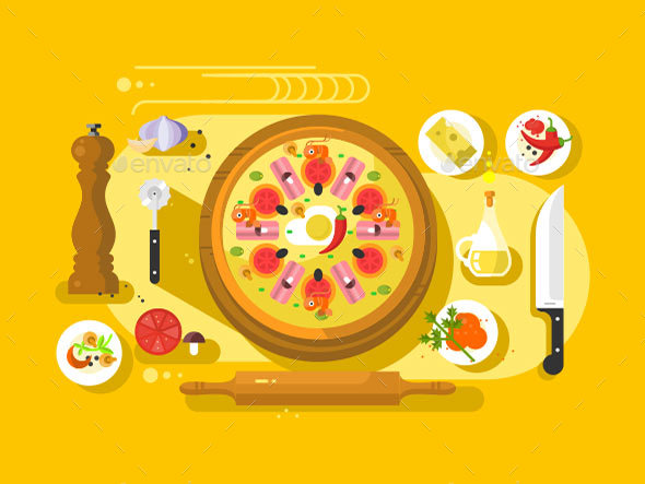 Pizza Cooking Design Flat - Food Objects