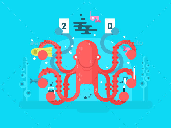 Octopus Character Design Flat - Animals Characters