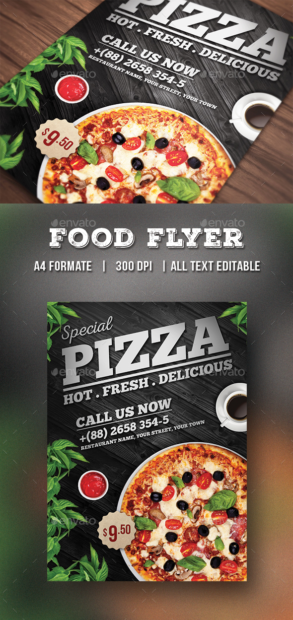 pizza flyer food flyer by themedevisers graphicriver. Black Bedroom Furniture Sets. Home Design Ideas