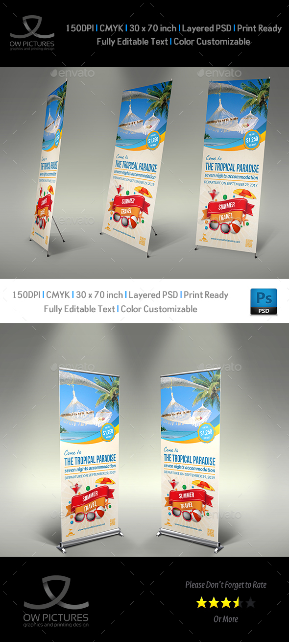 Tour and Travel Signage Roll Up Banner Template - Signage Print Templates