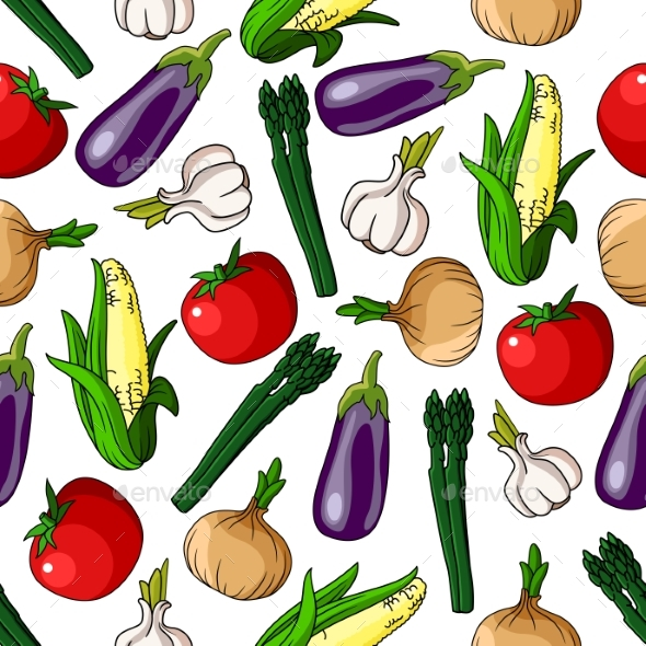 Colorful Seamless Pattern Of Vegetables - Backgrounds Decorative