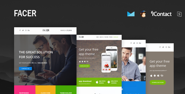FACER - Responsive E-mail Templates set + Online Access