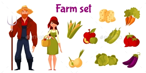 Farmers And Set Of Vegetables - Objects Vectors