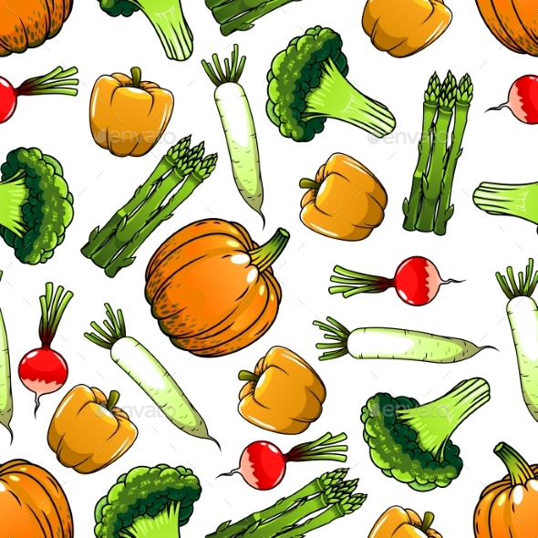 Organic Farm Vegetables Seamless Pattern - Backgrounds Decorative