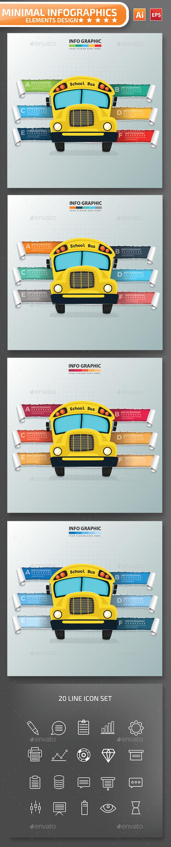 Minimal School Bus infographic Design - Infographics
