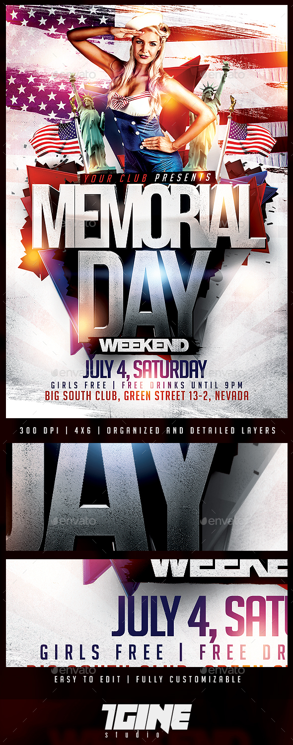 Memorial Day Flyer PSD Template - Holidays Events