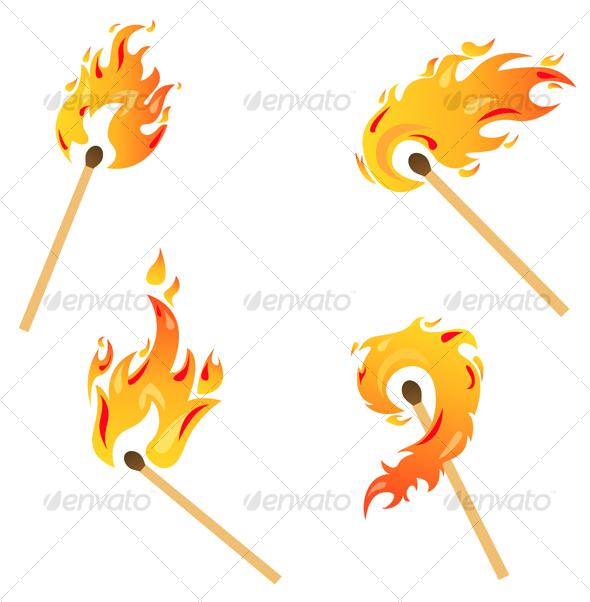 Set of fire flames - Decorative Vectors