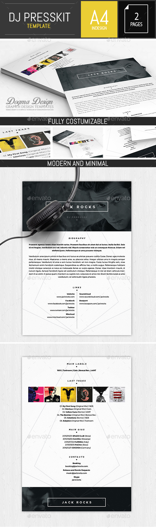 Musician dj press kit resume indesign template by for Dj press kit template free