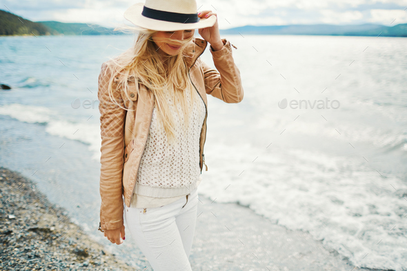Walking along shore - Stock Photo - Images
