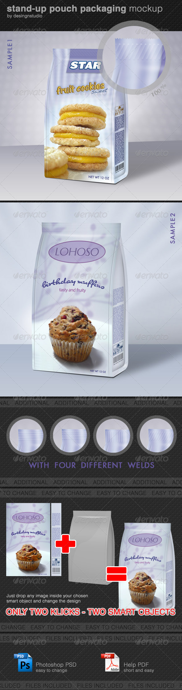 Stand-Up Pouch Packaging Mock-Up - Food and Drink Packaging
