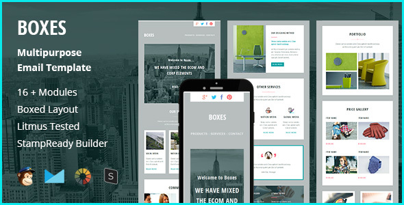 Boxes – Multipurpose Creative Responsive Email Template + Stampready Builder