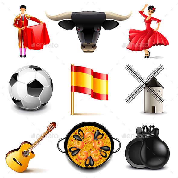 Spain Icons Set - Travel Conceptual