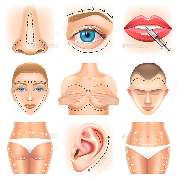 Plastic Surgery Icons Vector Set - Health/Medicine Conceptual