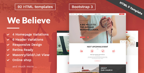 WeBelieve – Church, Charity, Nonprofit & Fundraising Responsive HTML5 Template