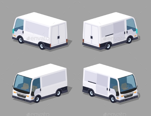 Low Poly White Cargo Van - Man-made Objects Objects