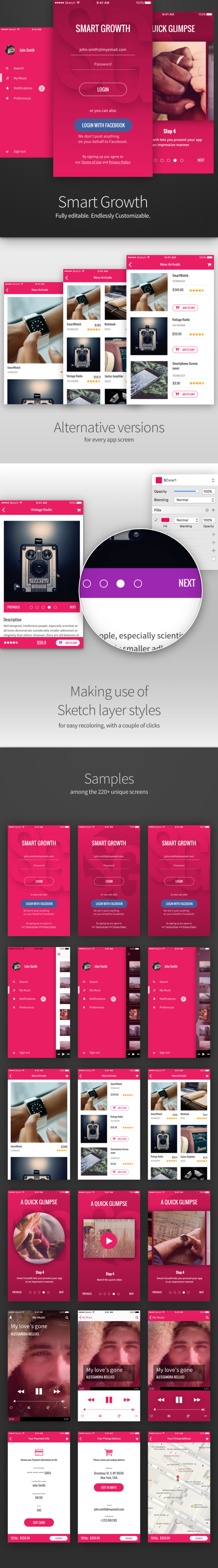 Smart Growth Mobile UI Kit with 220+ screens - Sketch Templates