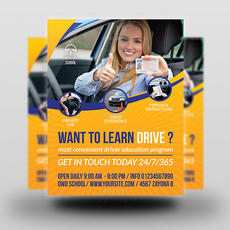 driving school flyer template by owpictures