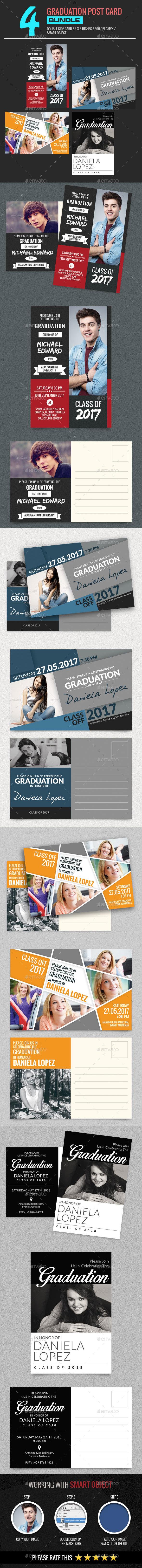 4 In 1 Graduation Post Card - Cards & Invites Print Templates