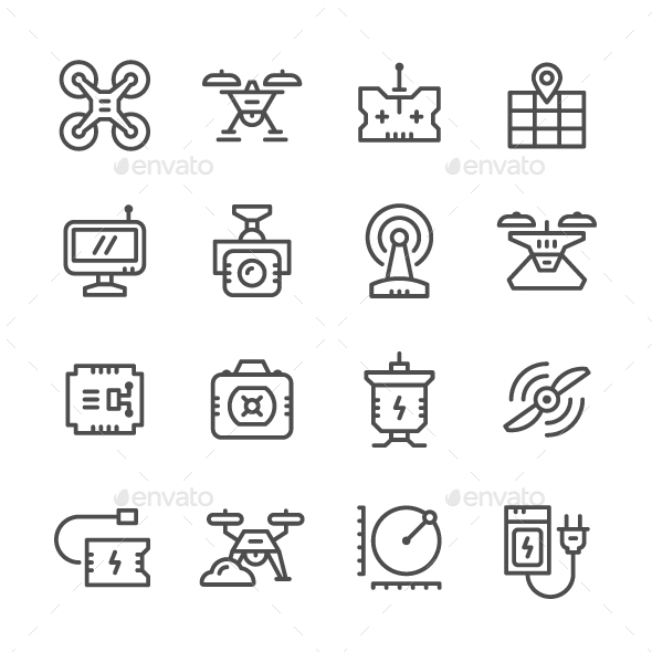 Set Line Icons of Quadrocopter - Man-made objects Objects