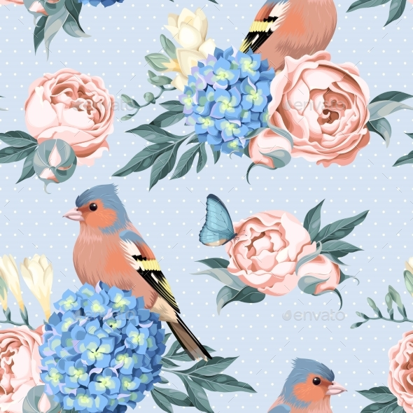 Birds and Flowers Seamless - Flowers & Plants Nature
