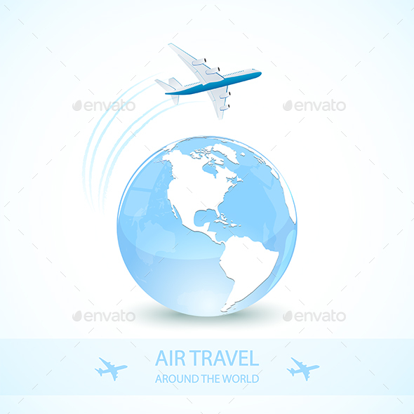 Blue Earth Globe with Plane - Travel Conceptual
