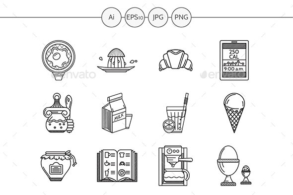 Healthy breakfast flat line vector icons - Food Objects