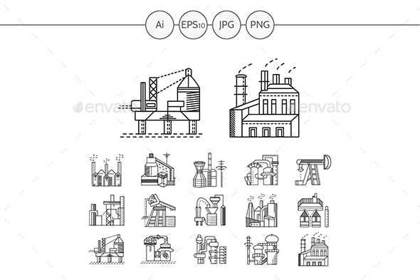 Industrial buildings flat line vector icons - Buildings Objects