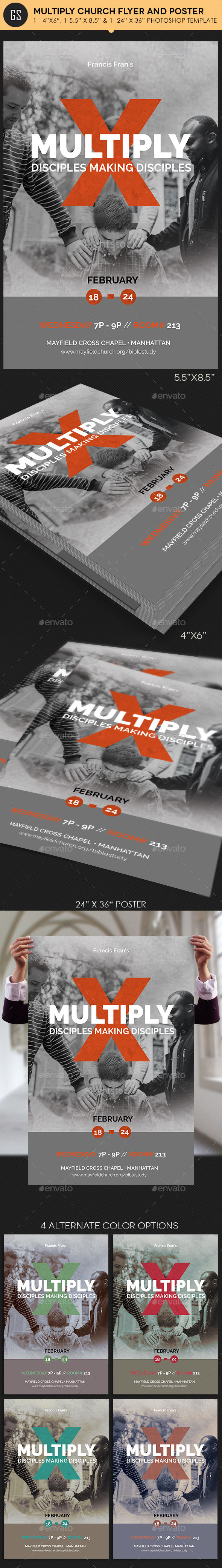 Multiply Church Flyer Poster Template Photoshop - Church Flyers
