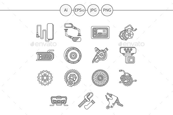 Electric bike accessories fla line vector icons set - Man-made objects Objects