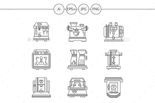 Coffee making equipment flat line vector icons set - Man-made objects Objects