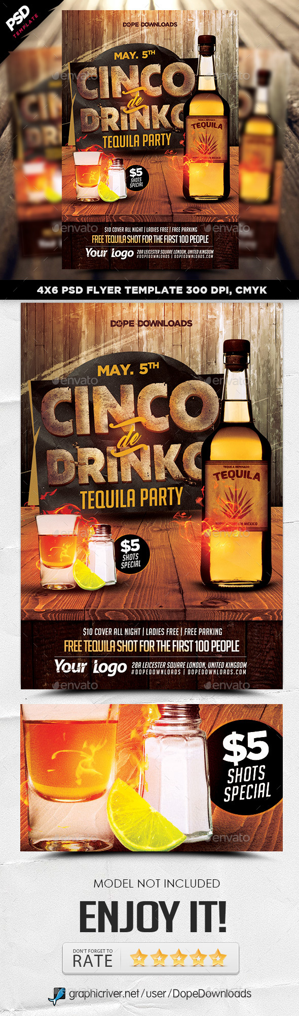 Cinco De Drinko Tequila Party Flyer Template - Events Flyers