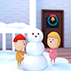 3D Cartoon Kids Building A Snowman For Christmas - VideoHive Item for Sale