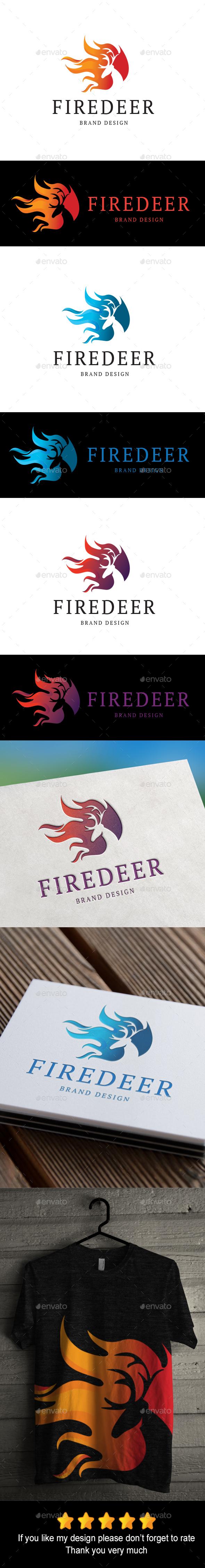 Firedeer Logo - Animals Logo Templates