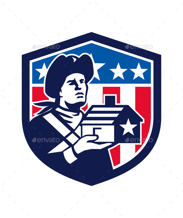 American Patriot Holding House Flag Crest Retro - People Characters