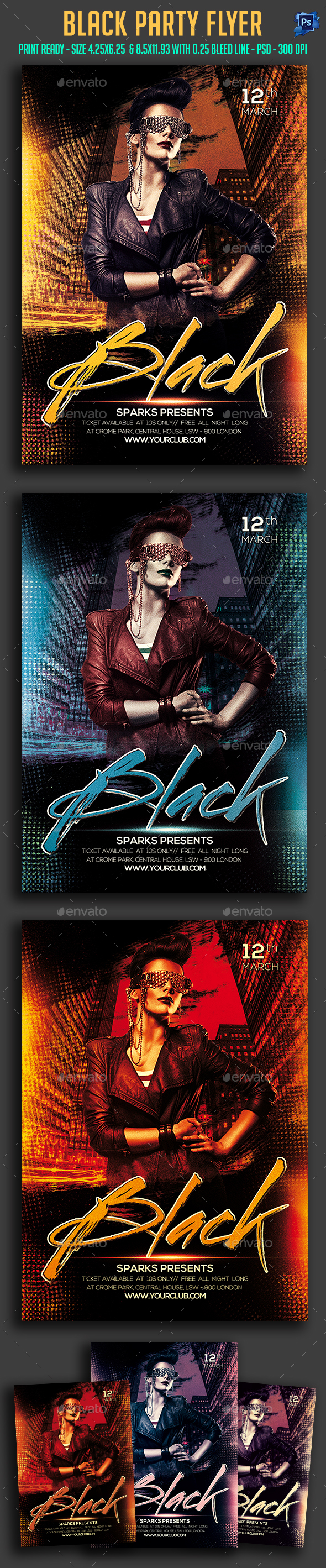 Black Night Party Flyer  - Clubs & Parties Events