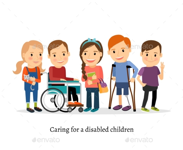 Disabled or Handicapped Children with Friends - People Characters