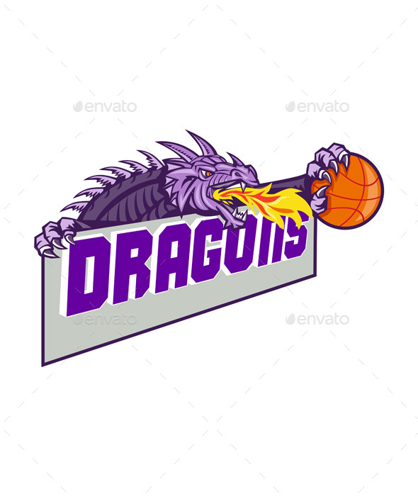 Dragon Head Fire Clutching Basketball Retro - Animals Characters