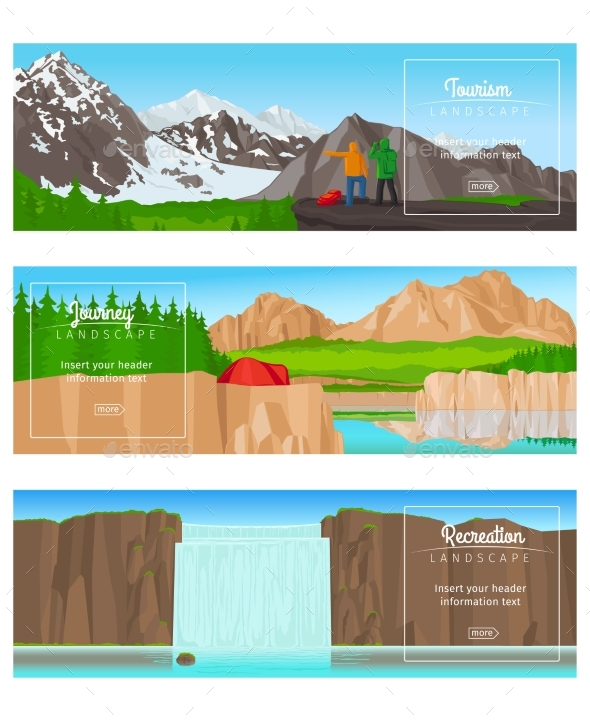 Journey or Camping Banner Set - Landscapes Nature