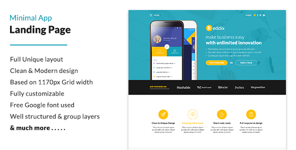 Minimal App Landing Page - Technology PSD Templates
