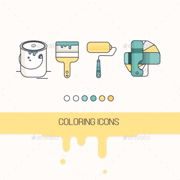 Coloring Construction Flat Icons Set Vector - Icons